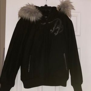 Youth Wool Pelle Pelle Coat With Fur Hood